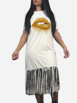 Gold Lips Tassel Short Sleeve Casual Dress