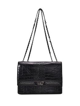 Twist Lock Alligator Print Solid Chain Shoulder Bags