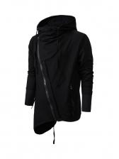 Inclined Zip Up Men Black Hoodie