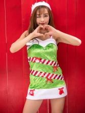 Christmas Striped Backless Halter Dress