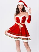 Christmas Fluffy Hem Strapless Dress