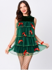 Cosplay Christmas Tree Ruffled Sleeveless Dress