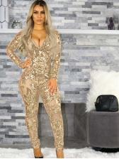 V Neck Sequin Decor Long Sleeve Skinny Jumpsuit
