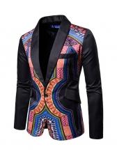 Tribal Print One Button Men Blazer Outerwear