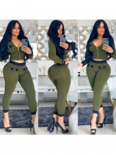 Autumn Casual Zipper Up Fitted 2 Piece Pants Set