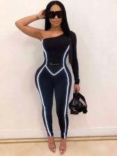 Inclined Shoulder Single Sleeve Reflective Stripe Jumpsuit