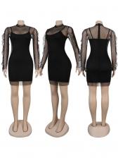 Gauze Dot Ruffled Two Piece Dress Set