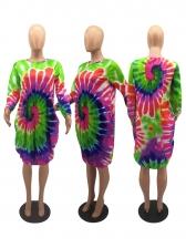 Loose Tie Dye Long Sleeve Casual Dress
