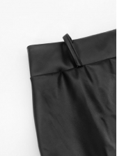 High Waist Lace Panel Leather Skirt