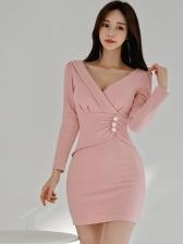 V Neck Button Decor Bodycon Pink Dress