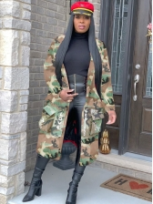 Fashion Letter Print Camouflage Long Coat