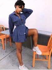 Solid Turndown Collar Corduroy Two Piece Skirt Set