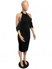 Cold Shoulder All Black Short Sleeve Dress