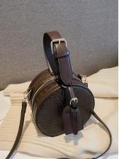 Stone Grain Double Zipper Solid Round Shoulder Bags