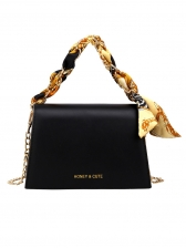 Solid Trapezoidal Silk Scarf Chain Shoulder Bags