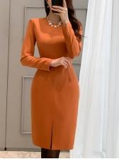 OL Style Solid Split Hem Long Sleeve Dress