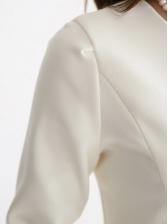 Slim Waist Work Style Solid Long Sleeve Dress