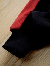 Contrast Color Velvet Hooded Tracksuit Set