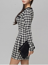 Elegant Houndstooth Single-Breasted One Piece Dress