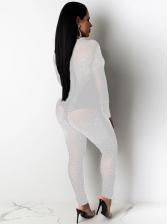 Sexy Rhinestone Decor Long Sleeve Skinny Jumpsuit