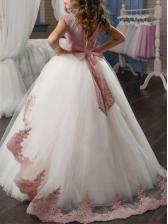 Sleeveless Bow Mesh Long Flower Girl Dresses