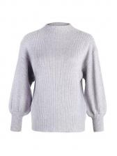 Mock Neck Lantern Sleeve Pullover Sweater
