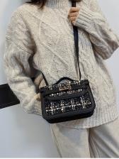 Houndstooth Woolen Patchwork Pu Ladies Shoulder Bags