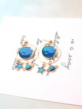 Sweet Blue Moon Star Drop Earrings