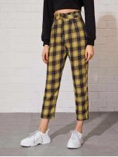 Euro High Waist Yellow Plaid Ninth Pants For Women