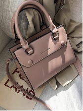 Simple Style Solid Color Square Handbags With Belt