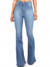 Plus Size Washed High Waist Bootcut Jeans For Women