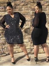 Plus Size Rhinestone Long Sleeve Dress