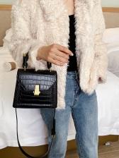 Alligator Print Metal Hasp Ladies Handbags With Belt
