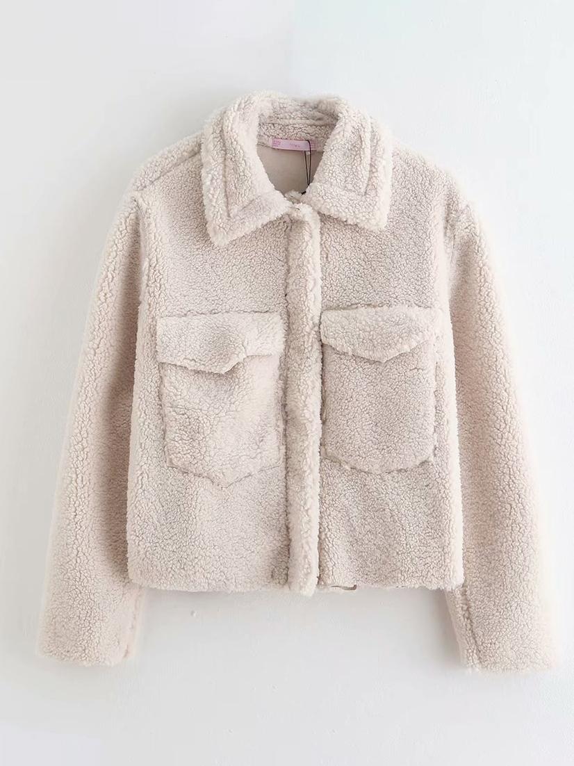 Pure Color Pockets Fleece Coat