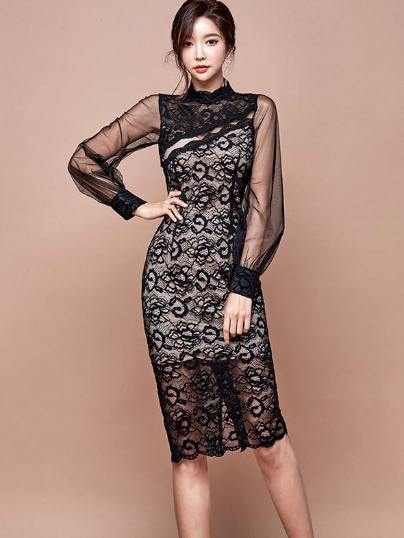 High End Mock Neck Long Sleeve Lace Dress