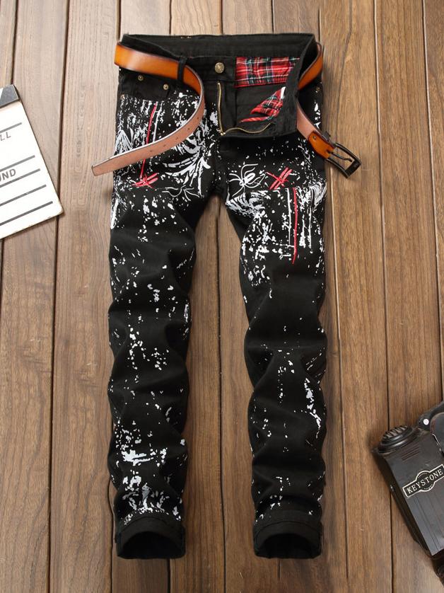 Stylish 3D Printed Straight Mens Pants