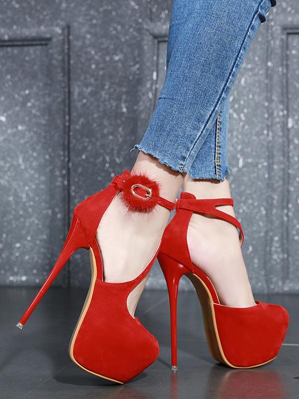 Closed Toe Fur Decor Sexy Platform Heels