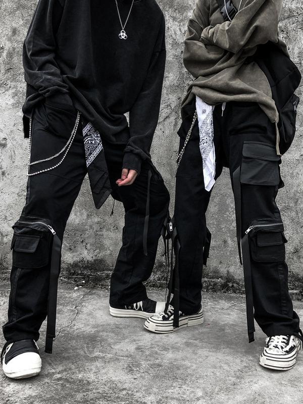 Solid Buckle Design Cargo Pants For Men