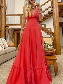 V Neck Spaghetti Strap Solid Sleeveless Maxi Dress