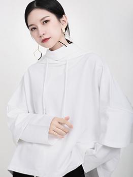 Loose Pure Color Ruffled Sleeve Cool Hoodies