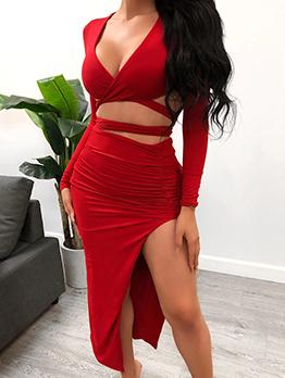 Pure Color Tie-Wrap Split Hem Crop Top And Skirt Set