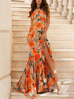 Flower Printed Slit Halter Maxi Dress