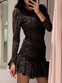 Fashion Smart Waist Glitter Long Sleeve Party Dress