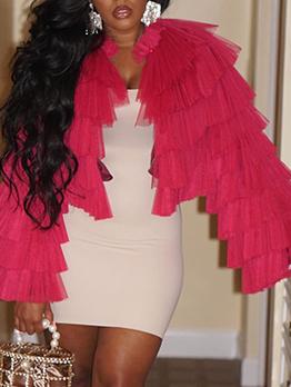 Gauze Tiered Ruffled Long Sleeve Ladies Coats
