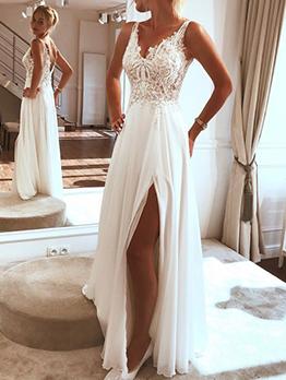 Stylish Slit Solid Applique Evening Dresses 2019