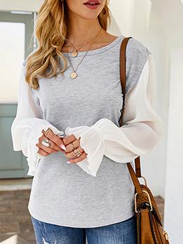 Patchwork Ruffled Cuff Long Sleeve T-shirts Women