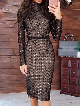 Gauze Patchwork Long Sleeve Bodycon Dress