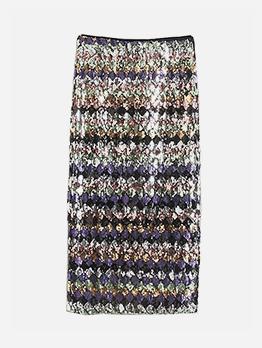 Sexy Straight Midi Sequin Skirt