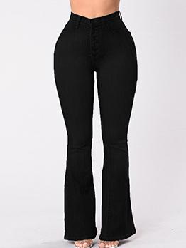 Trendy High Waist Black Flare Jeans