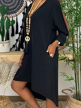 V Neck Slit Sleeve Black Midi Dress